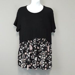 Acting Pro Black /Pink Floral Layered Tunic Size L
